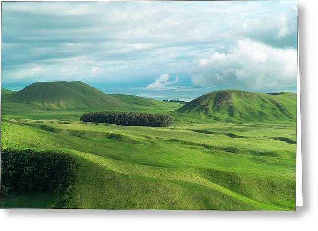 Green Hills On The Big Island Of Hawaii Greeting Card by Larry Marshall