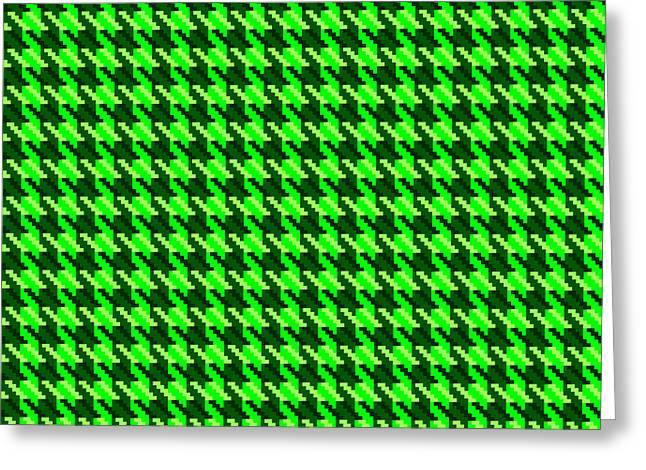 Hounds Tooth Greeting Cards - Green Houndstooth Check Greeting Card by Jane McIlroy