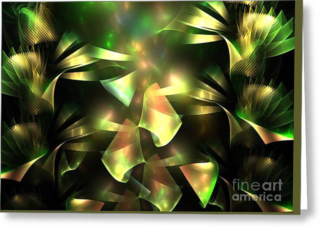 Beige Abstract Greeting Cards - Green Hydrangea Greeting Card by Kim Sy Ok
