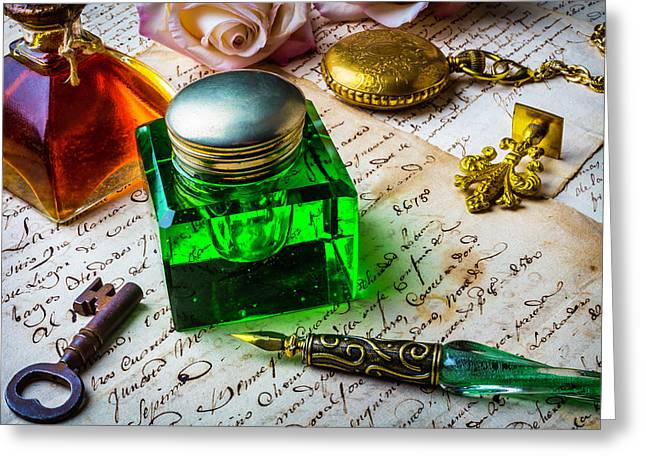 Green Ink Well Greeting Card by Garry Gay