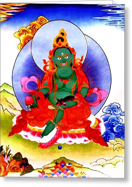 Full Of Wisdom Greeting Cards - Green Jambhala 2 Greeting Card by Lanjee Chee