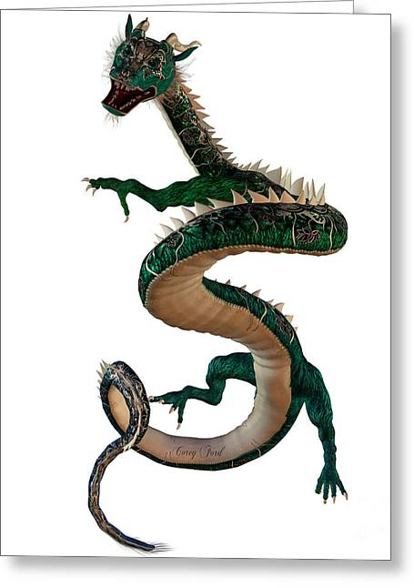 Fantasy Creatures Greeting Cards - Green Jewel Dragon Greeting Card by Corey Ford