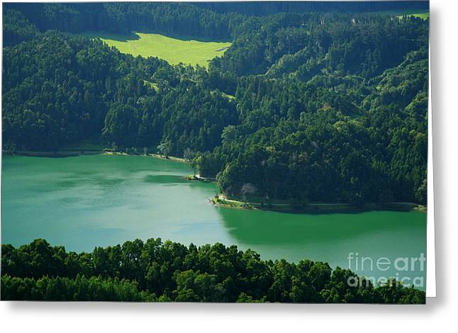 Lush Colors Greeting Cards - Green Lake - Azores Greeting Card by Gaspar Avila