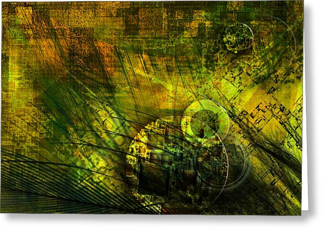 Abstractions Greeting Cards - Green Lantern Greeting Card by Monroe Snook