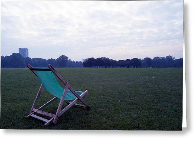 Lawn Chair Greeting Cards - Green Lawn Chair No. 1 Greeting Card by Nancy Clendaniel