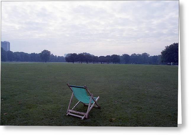 Lawn Chair Greeting Cards - Green Lawn Chair No. 2 Greeting Card by Nancy Clendaniel