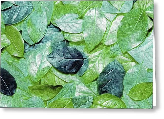 Green Leaves Nicholas Nixo Efthimiou Greeting Card by Nicholas Nixo