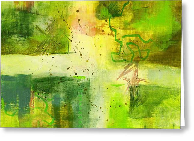 Square Format Paintings Greeting Cards - Green Light Abstract Greeting Card by Nancy Merkle