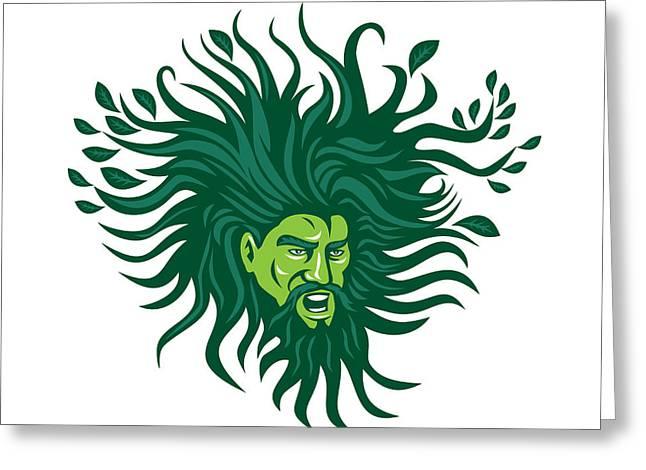 Leaf Hairs Greeting Cards - Green Man Head Hair Flowing Leaves Cartoon Greeting Card by Aloysius Patrimonio