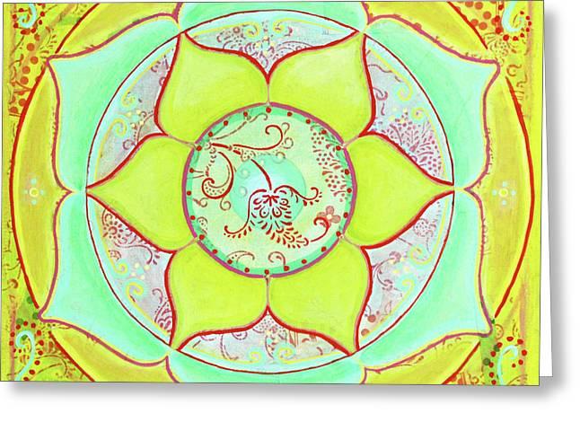 Green Lotus Mandala Greeting Card by Clary Sage Moon