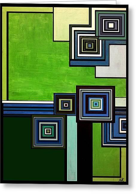 Geometrical Art Greeting Cards - Green Greeting Card by Maya Kaaria