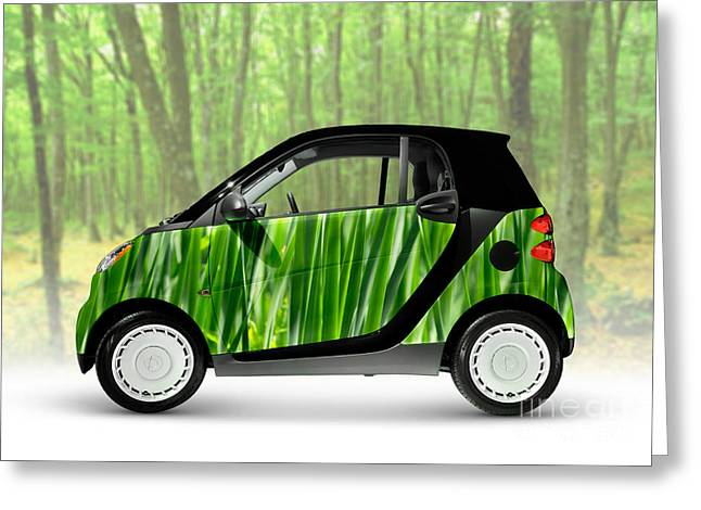 Single Seater Greeting Cards - Green Mini Car Greeting Card by Oleksiy Maksymenko