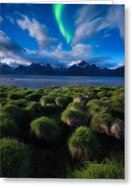 Alps Greeting Cards - Green Night Greeting Card by Tor-Ivar Naess