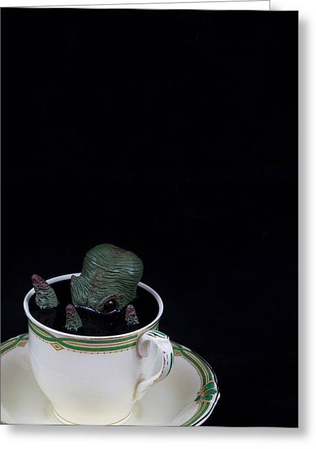 Kids Sculptures Greeting Cards - Green Octopus and a teacup Greeting Card by Voodoo Delicious