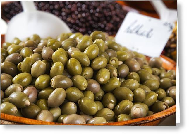 Green Olives At A French Market Greeting Card by Georgia Fowler