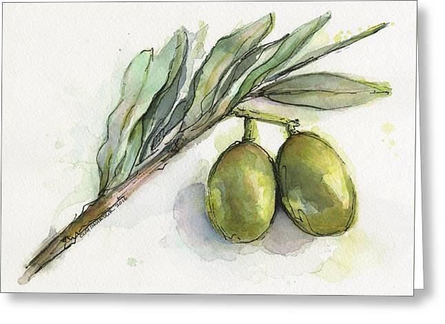 Green Olives On A Branch  Greeting Card by Olga Shvartsur