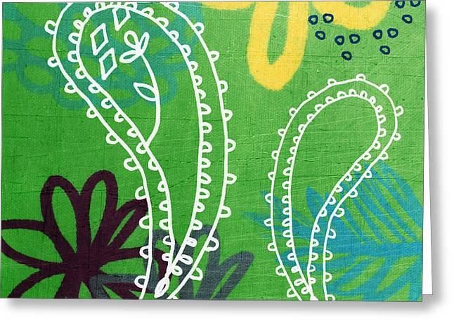 Green And Yellow Abstract Greeting Cards - Green Paisley Garden Greeting Card by Linda Woods