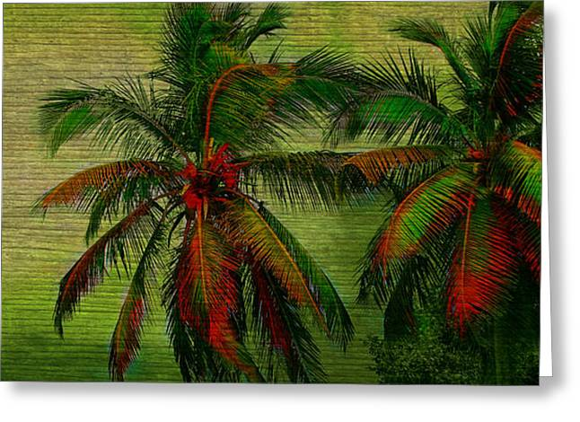 Best Ocean Photography Greeting Cards - Green Palms Greeting Card by Perry Webster