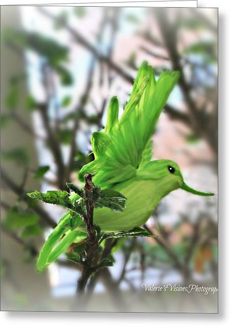 Stein Greeting Cards - Green paper hummingbird Greeting Card by Valerie Stein