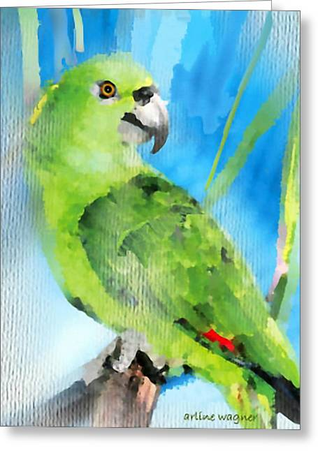 Parrot Digital Art Greeting Cards - Green Parrot Greeting Card by Arline Wagner