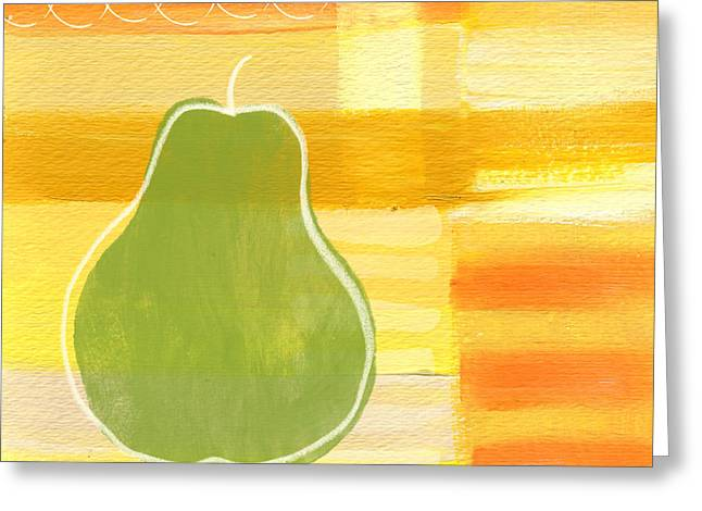 Bedroom Greeting Cards - Green Pear- Art by Linda Woods Greeting Card by Linda Woods