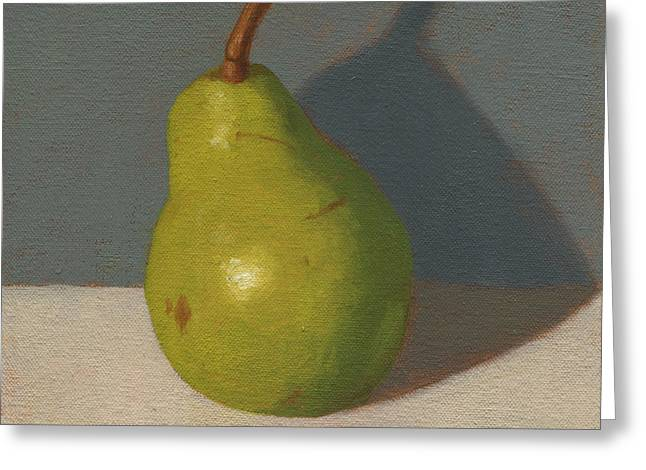 Green Pear Greeting Card by John Holdway