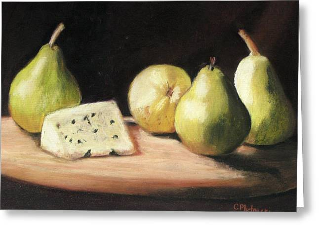 Cheeses Pastels Greeting Cards - Green Pears with Cheese Greeting Card by Cindy Plutnicki