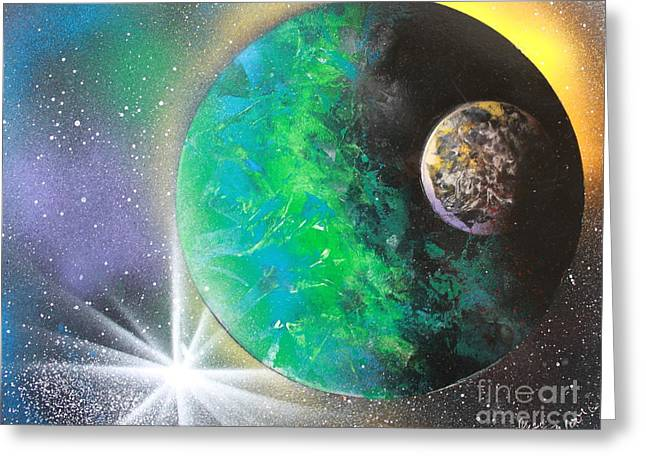 Outer Space Paintings Greeting Cards - Green Planet 4672 Greeting Card by Greg Moores