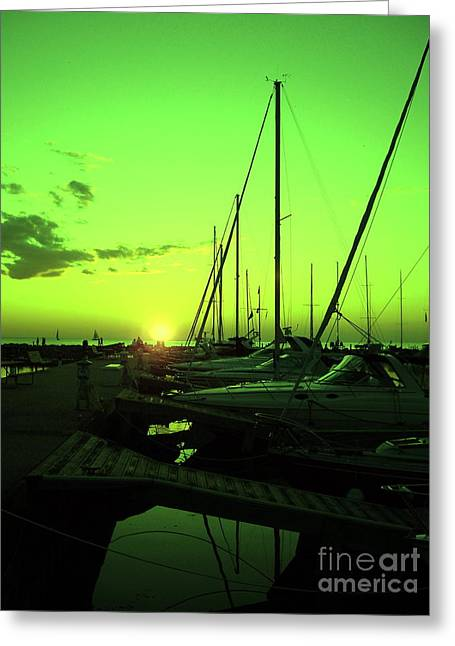 Best Sellers -  - Boats At The Dock Greeting Cards - Green Sailers Delight Sunset Greeting Card by Carol Komassa