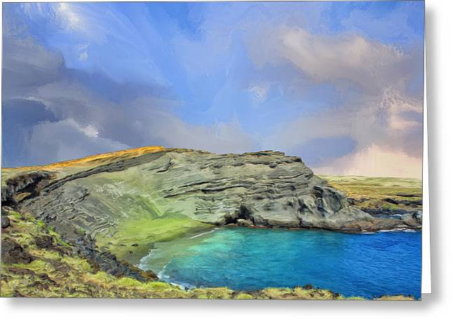 Lahaina Greeting Cards - Green Sand Beach at Papakolea Greeting Card by Dominic Piperata