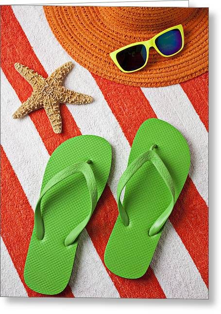 Shade Photographs Greeting Cards - Green Sandals On Beach Towel Greeting Card by Garry Gay