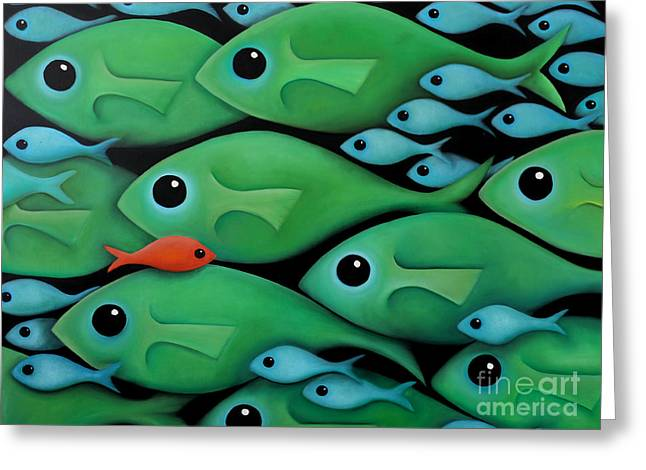 Recently Sold -  - Aquarium Fish Greeting Cards - Green School 2 Greeting Card by Georgie Greene