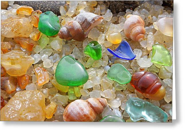 Green Seaglass Art Prints Sea Glass Shells Agates Greeting Card by Baslee Troutman Fine Art Prints