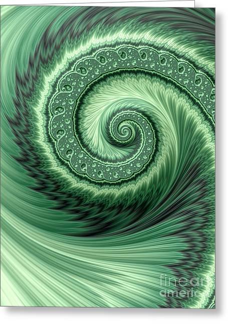 Green Shell Greeting Card by John Edwards