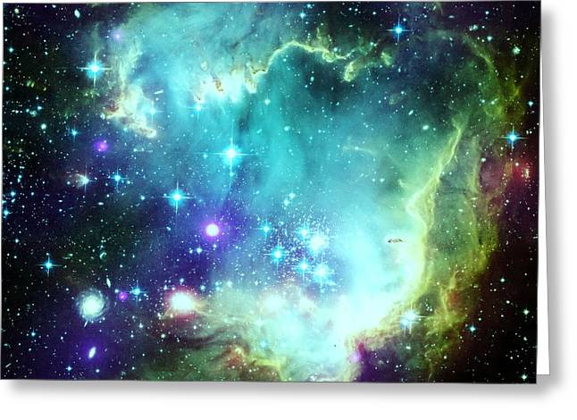 Intergalactic Space Greeting Cards - Green Space Greeting Card by Johari Smith