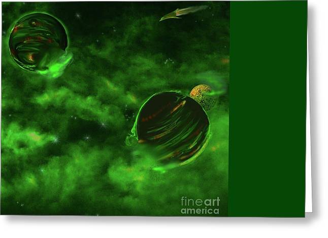 Green Lantern Greeting Cards - Green Space Greeting Card by Methune Hively