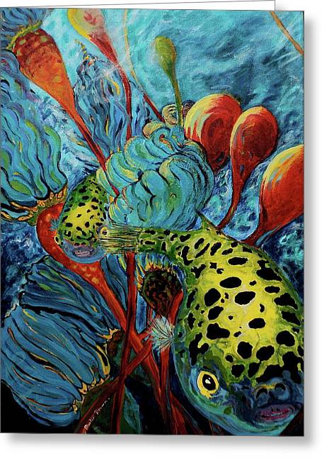 Puffer Greeting Cards - Green Spotted Puffer Greeting Card by Gregory Merlin Brown