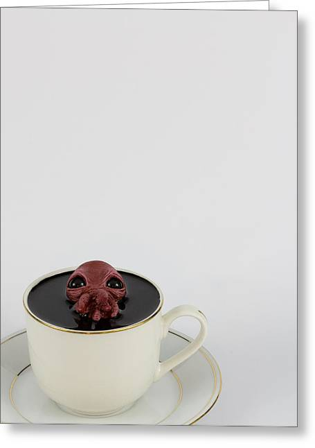 Kids Sculptures Greeting Cards - Green Squid and a teacup Greeting Card by Voodoo Delicious