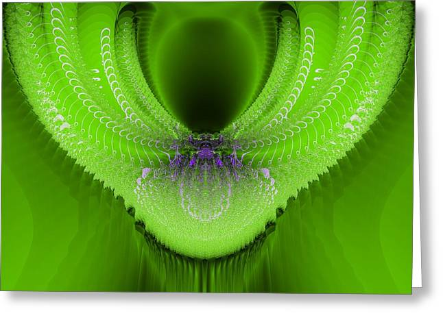 Algorithmic Greeting Cards - Green stalactite Greeting Card by Sfinga Sfinga