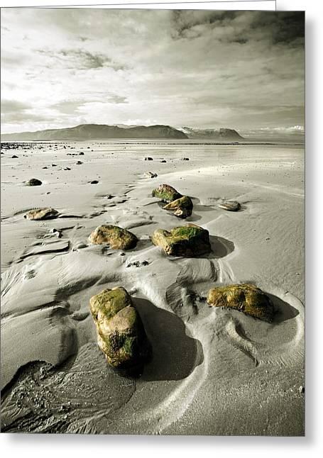 Llandudno Greeting Cards - Green stones on a North Wales Beach Greeting Card by Mal Bray