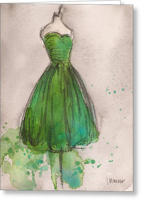 Strapless Dress Greeting Cards - Green Strapless Dress Greeting Card by Lauren Maurer
