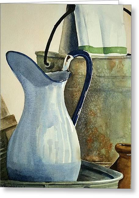 Water Jug Greeting Cards - Green Stripe Greeting Card by Renata Wright