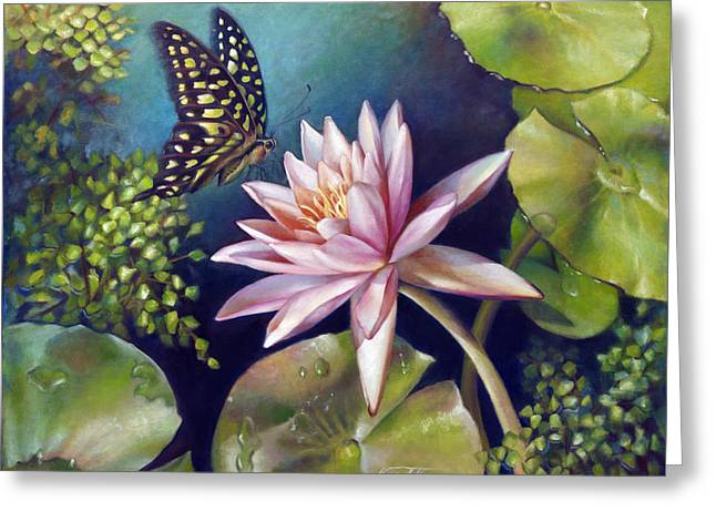 Gallery Wrap Paintings Greeting Cards - Green Tailed Jay Butterfly and Water Lily Greeting Card by Nancy Tilles