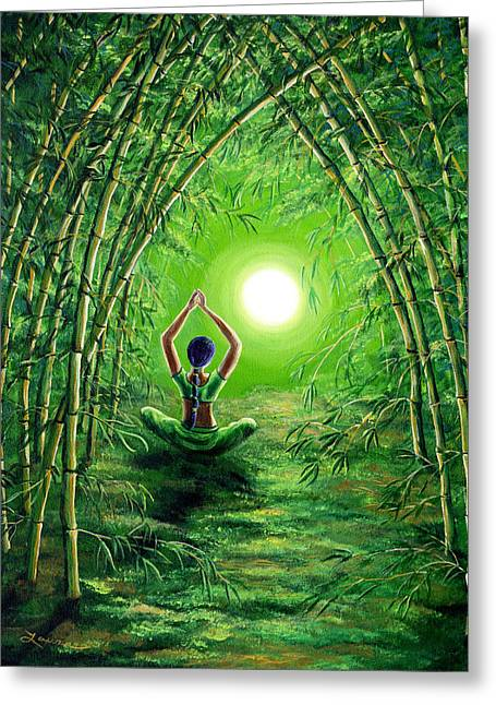 Divine Feminine Greeting Cards - Green Tara in the Hall of Bamboo Greeting Card by Laura Iverson