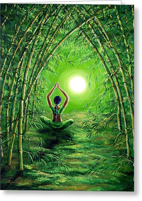 Green Tara In The Hall Of Bamboo Greeting Card by Laura Iverson
