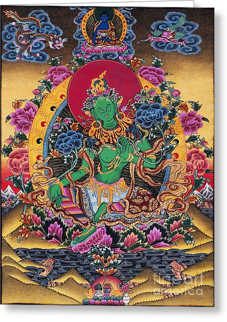 Green Tara Thangka Greeting Card by Tim Gainey
