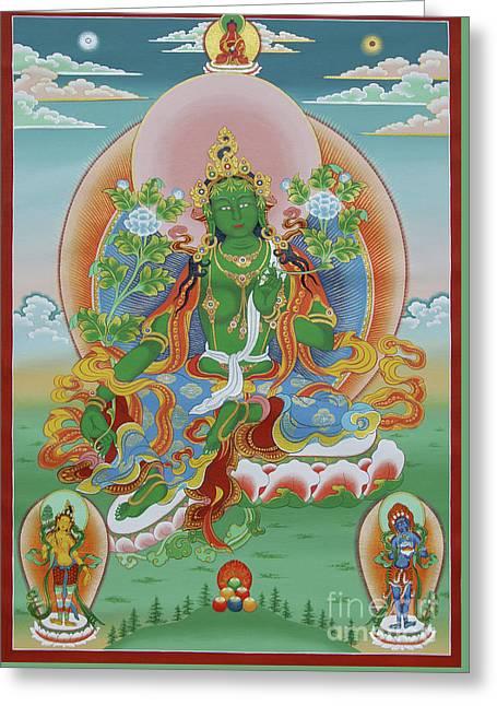 Thangka Greeting Cards - Green Tara with Retinue Greeting Card by Sergey Noskov