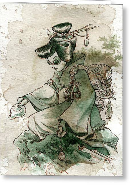 Geisha Greeting Cards - Green Tea Greeting Card by Brian Kesinger