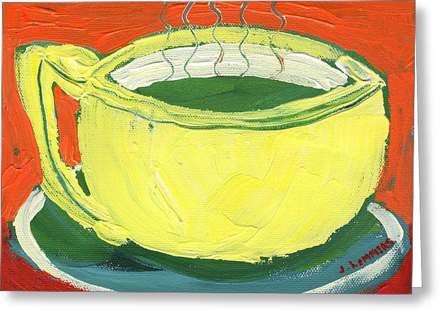 Teacup Greeting Cards - Green Tea Greeting Card by Jennifer Lommers