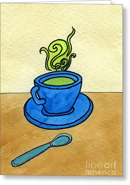 Appleton Art Greeting Cards - Green Tea Greeting Card by Norma Appleton